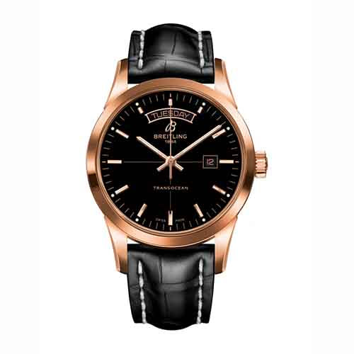 Breitling Transocean Day   Date Rose Gold   Black Leather Strap Watch –  Hugh Rice 606b8cbc9