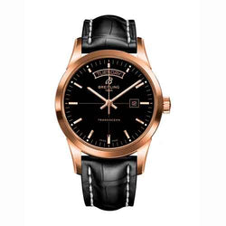 Breitling Transocean Day & Date Rose Gold & Black Leather Strap Watch