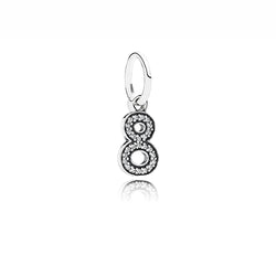 PANDORA Silver & Zirconia Number Eight Pendant Charm