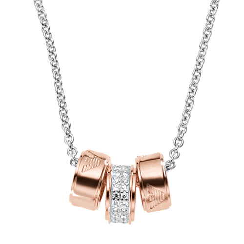Emporio Armani Silver & Zirconia Rose Gold Plated 3 ring Necklace