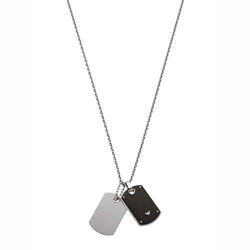 Emporio Armani Stainless Steel & Black Dog Tag Necklace