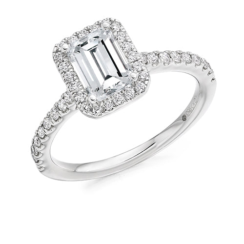Diamond + Platinum Emerald-Cut 4 Claw Halo Engagement Ring