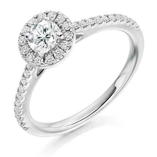 Platinum Claw Set Round Brilliant Cut Diamond Halo Engagement Ring