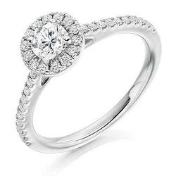 Diamond Round Brilliant Cut & Platinum Halo Bezel Engagement Ring
