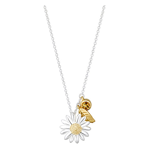 Daisy And Feather Drop 15mm Gold Plated Necklace