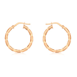 Hoxton 9 ct Rose-Gold Twist Creole Earrings