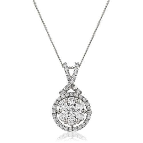 Diamond & 18ct White Gold Daisy Cluster Pendant