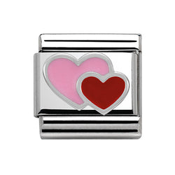 Nomination Composable Classic Pink And Red Double Heart Charm