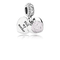PANDORA Silver And Cubic Zirconia First My Mother Heart Pendant charm