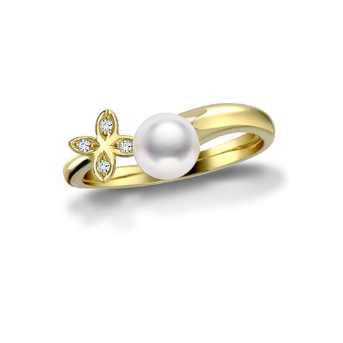 Mikimoto Ladies Yellow Gold Diamond And Pearl Clover Ring