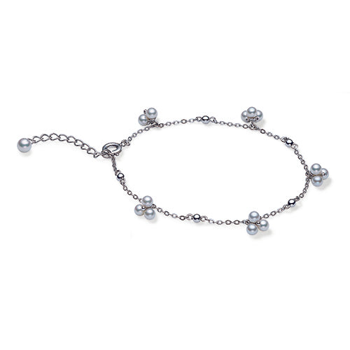 Mikimoto Ladies White Gold And Cluster Pearl Chain Bracelet
