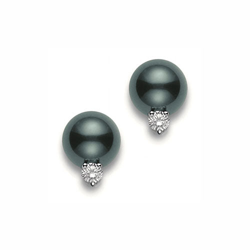 Mikimoto Ladies Black South Sea Pearl with Diamond Stud Earrings