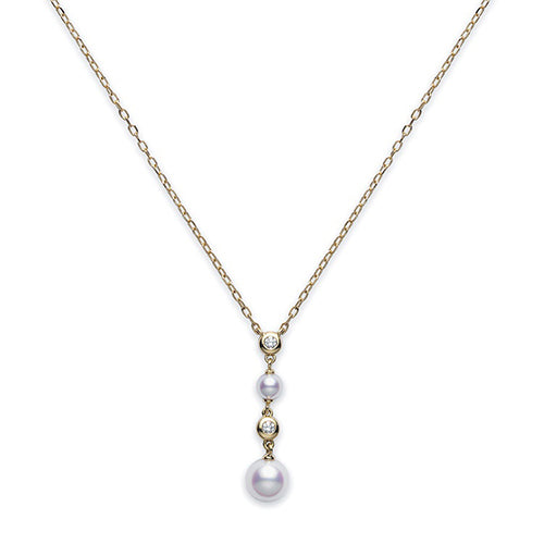 Mikimoto Ladies Yellow Gold, Diamond & Pearl Drop Pendant