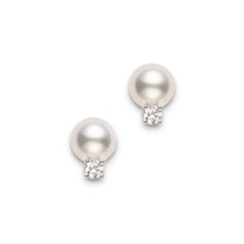 Mikimoto Pearl And Diamond Stud Earings