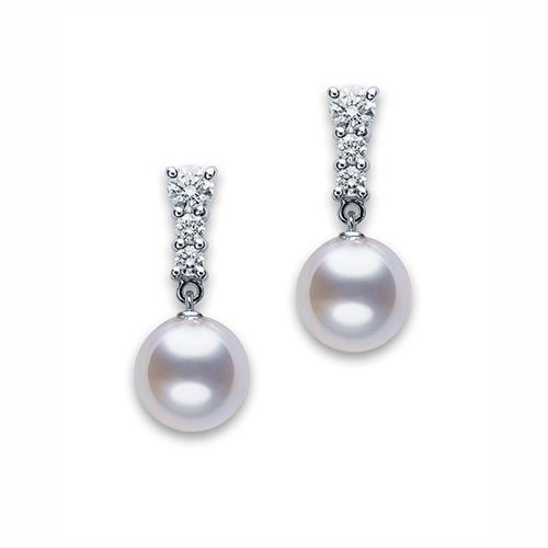 Mikimoto Ladies White Gold And Diamond Morning Dew Pearl Earrings