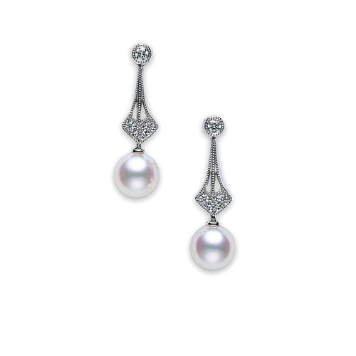 Mikimoto White Gold And Diamond Vintage Pearl Earrings