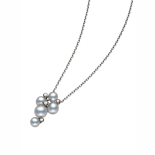Mikimoto Ladies White Gold And Diamond Bubble Pendant
