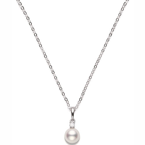 Mikimoto Ladies White Gold Pearl 8.5mm And Diamond Drop Pendant