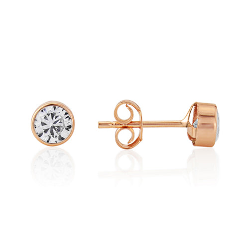 Mark Milton 9ct Rose Gold & Cubic Zirconia 4mm Round Stud Earrings
