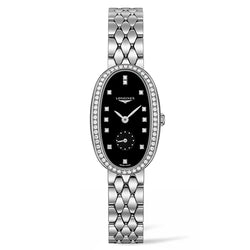 Longines Symphonette Collection Ladies 21.90 x 34.00 mm Oval Diamond, Black & Steel Ladies Watch