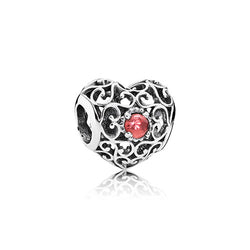 PANDORA Silver & Garnet January Signature Heart Birthstone Charm