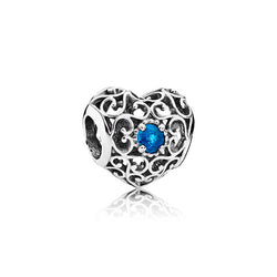 PANDORA Silver December Signature Heart Birthstone Charm