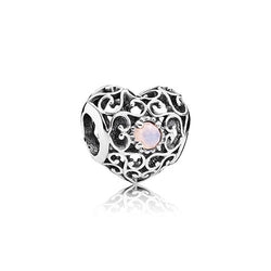 PANDORA Silver October Signature Heart Birthstone Charm
