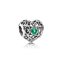 PANDORA Silver May Signature Heart Birthstone Charm