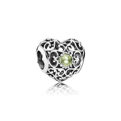 PANDORA Silver August Signature Heart Birthstone Charm