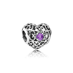PANDORA Silver February Signature Heart Birthstone Charm