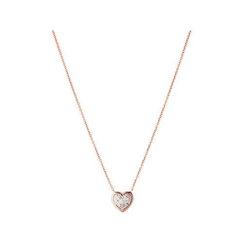 Links of London Diamond Essentials 18ct Rose Gold Vermeil & Pave Diamond Heart Necklace