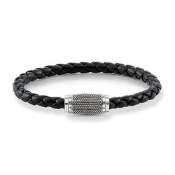 Thomas Sabo Black Leather Nappa Bobble Clasp Bracelet