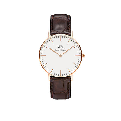 Daniel Wellington Ladies Classic York Brown Leather 36mm Watch