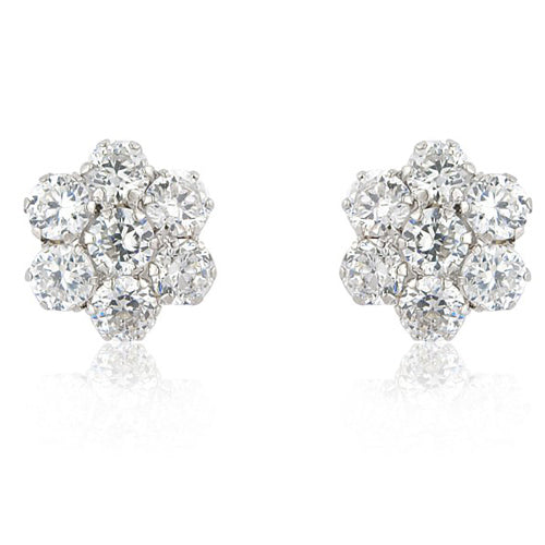 Mark Milton 9ct White Gold Cubic Zirconia Flower Earrings