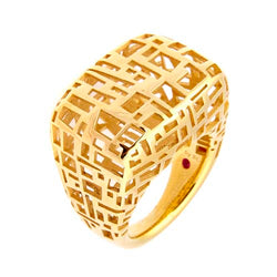 Roberto Coin Gold-Plated Sterling Silver Block Ring