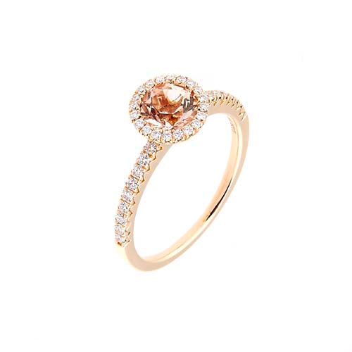 Round Morganite and Diamond 18 ct Rose-Gold Halo Ring