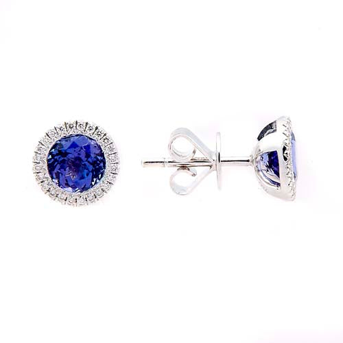 Tanzanite Diamond Halo and 18 ct White-Gold Stud Earrings