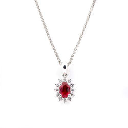 Oval Ruby Diamond Cluster and 18 ct White-Gold Pendant Necklace