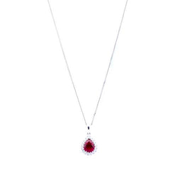 Pear-Shaped Ruby Diamond Bezel and 18 ct White-Gold Necklace