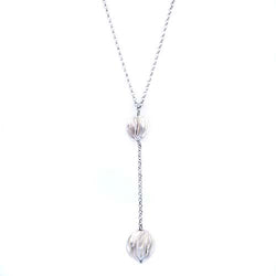Roberto Coin Sterling Silver and Rhodium Plated Bead Drop Necklace