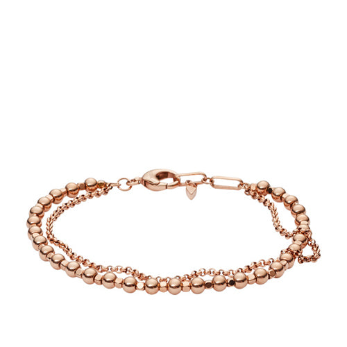 Fossil ladies Rose Gold Colour Double Multi Beaded Bracelet