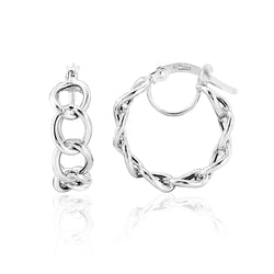 Mark Milton 9ct White Gold Curb Link Hoop Earrings