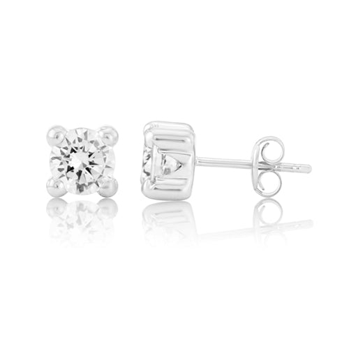 Mark Milton White Gold Round Cubic Zirconia 4 Claw Stud Earrings