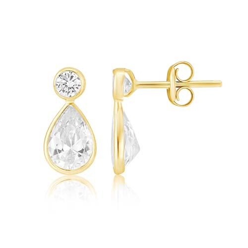 Mark Milton 9ct Yellow Gold And Cubic Zirconia Pear Drop Earrings