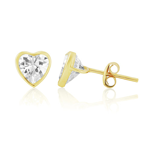 Mark Milton Yellow Gold Large Cubic Zirconia Heart Earrings