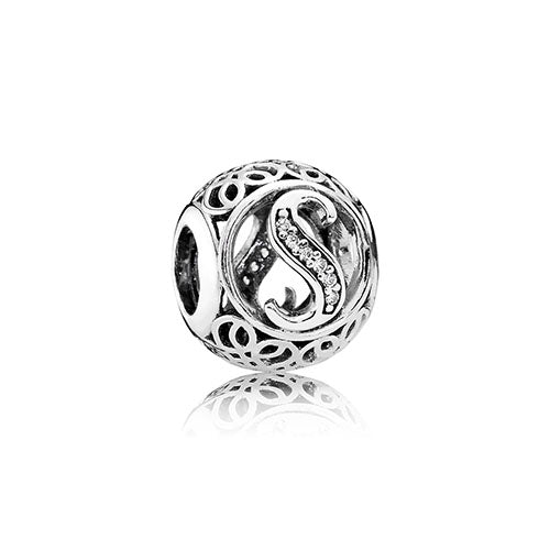 PANDORA Silver Vintage Letter S Charm Hugh Rice Jewellers - Cool invoice template free pandora store online