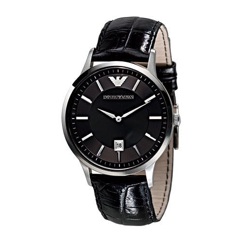 Emporio Armani Gents Black Leather Strap & Black Round Dial Watch