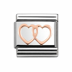 Nomination Double Heart 9 ct Rose-Gold & Steel Composable Charm