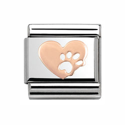 Nomination Paw 9 ct Rose-Gold & Steel Composable Charm