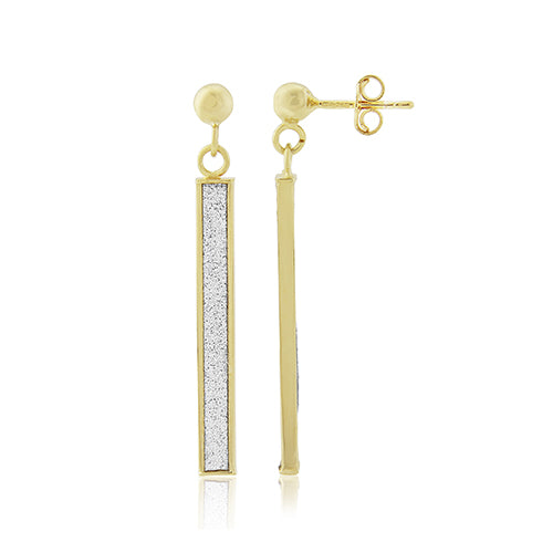 Mark Milton 9ct Yellow Gold Glitter Drop Bar Earrings